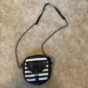 Black and white stripped cross body purse